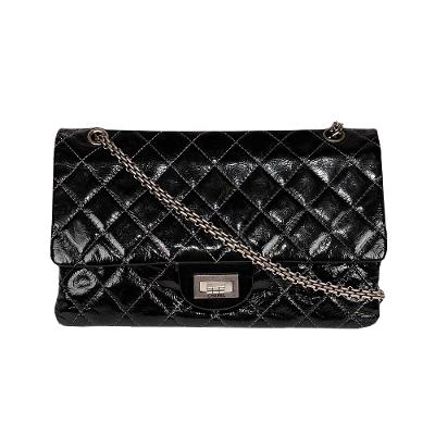 patent silver hardware medium shoulder bag black